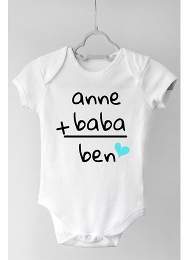 Happy Onesie Co Anne Baba Ben Kısa Kollu Çıtçıtlı Body  Beyaz